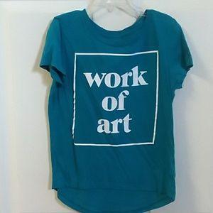 "Girls ""work of art"" tee size small (6,7)"